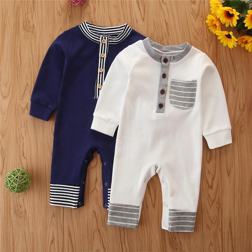 Stripe Long-sleeve Jumpsuit