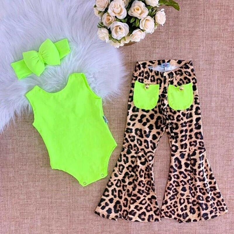 3pcs Sleeveless Romper Leopard Flared Pants Headband Set