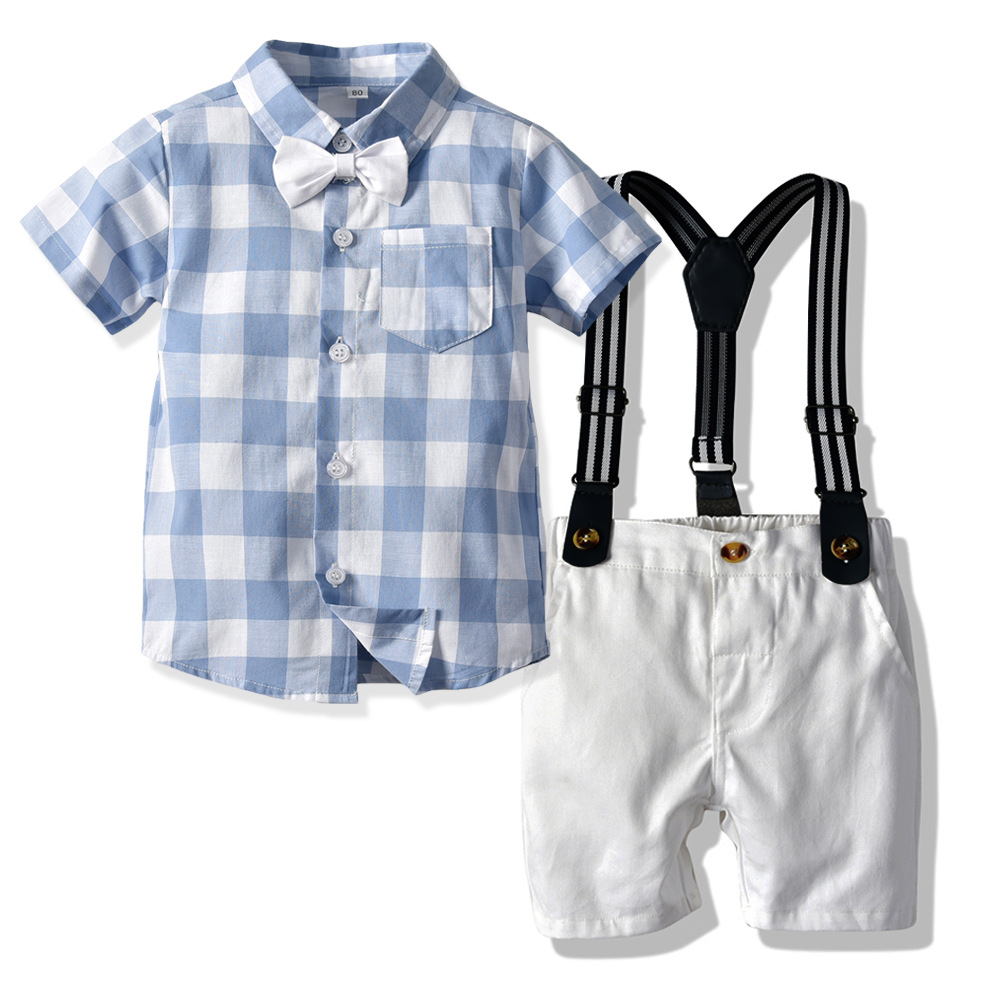 Plaid Print Bow Polo T-shirt Set