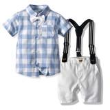Plaid Print Bow Polo T-shirt Set