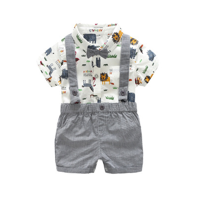 Cotton T-shirt Top and Overall Set