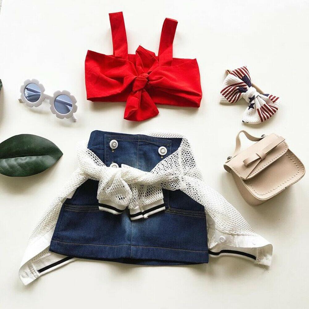 Bow Sling Denim Skirt Set