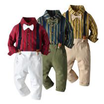Stripe Polo Bow T-shirt Set