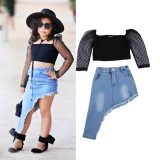 Mesh Lace Long Sleeve Pullover Tops and Denim Skirts Set