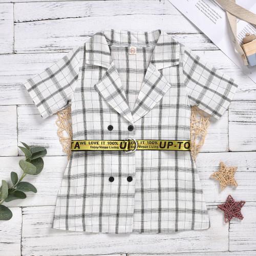2pcs Plaid Short-sleeve Coat