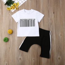 2pcs Letter Print Short Set