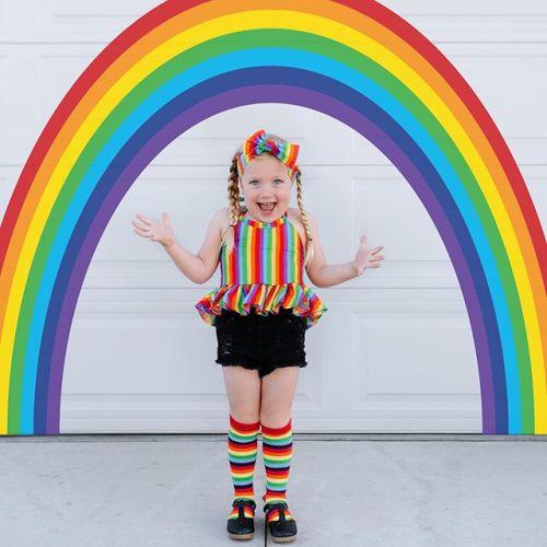 3pcs Stripe Rainbow Denim Set