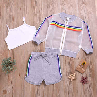 3pcs Mesh Rainbow Stripe Set