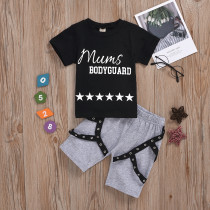 2pcs Letter Short-sleeve Set