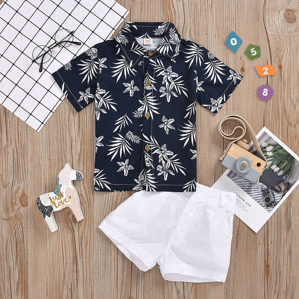 2pcs Leaf Print Polo-collar Set