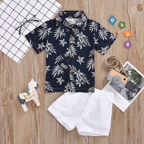 2pcs Leaf Print Polo-collar Set