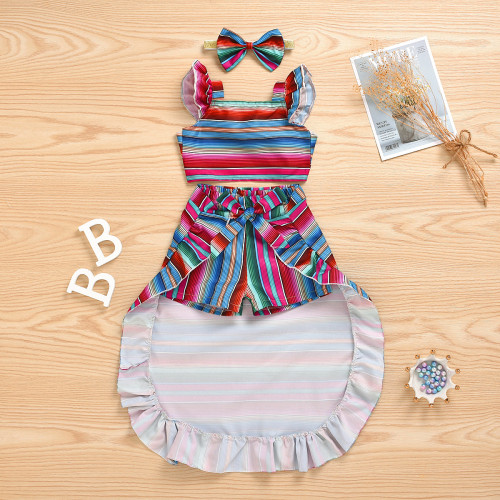 4pcs Stripe Rainbow Skirt Set