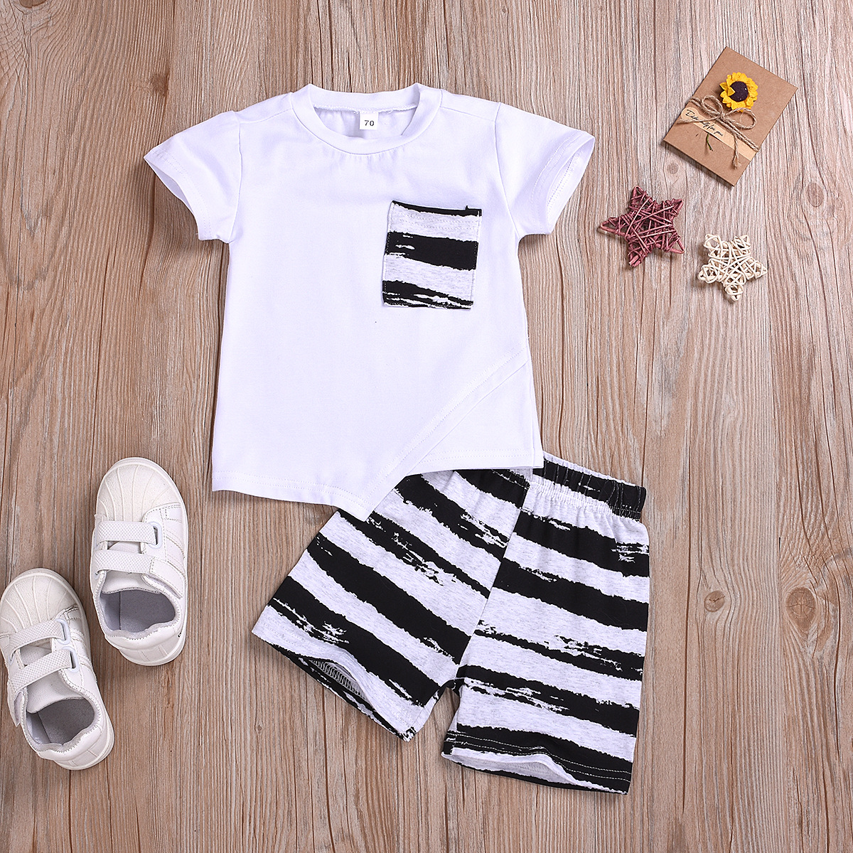 2pcs Stripe Short-sleeve Set