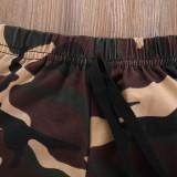 2pcs Letter Print Camouflage Set