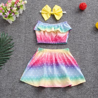 2pcs Polka Dot Ruffle Rainbow Set