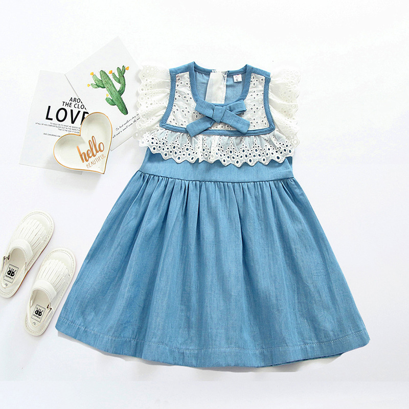 Lace Denim Dress