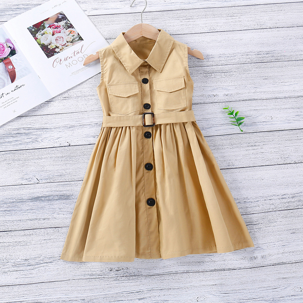 Polo-collar Sleeveless Dress