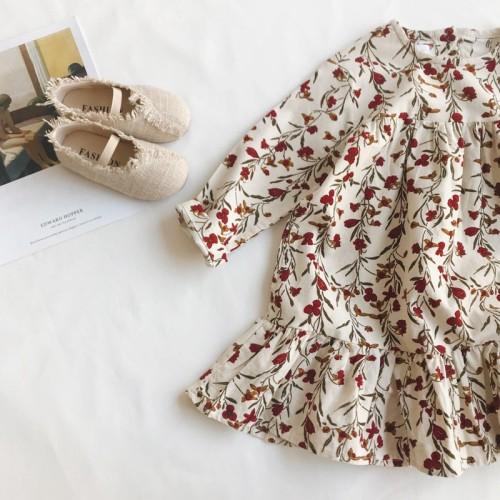 Floral Print Long-sleeve Dress