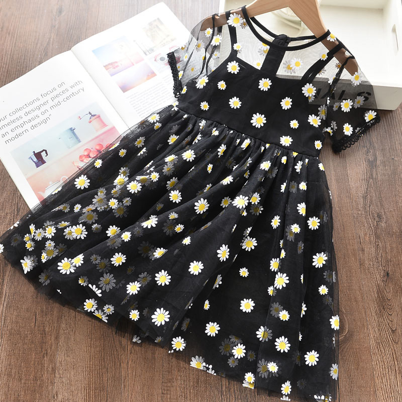 Daisy Print Mesh Short-sleeve Dress