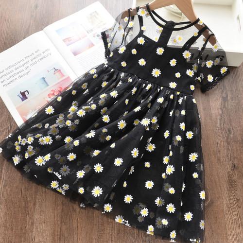 Daisy Print Mesh Short-sleeve Dress