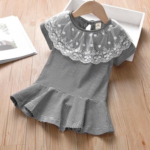 Lace Ruffle Stripe Dress
