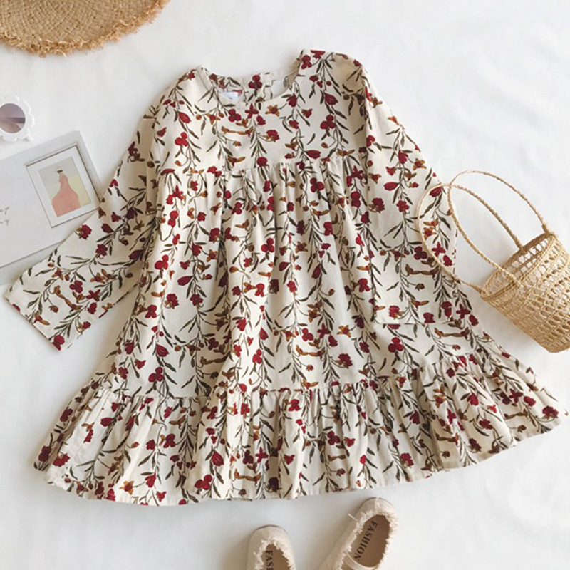 Floral Print Long-sleeve Dress