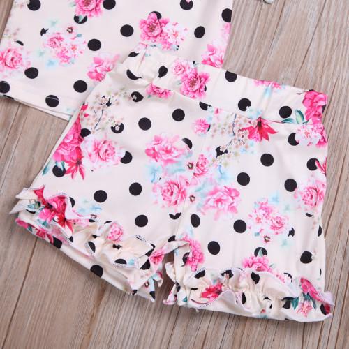 2pcs Floral Polka Dot Short Set