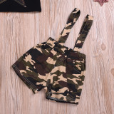 2pcs Camouflage Print Overall Set