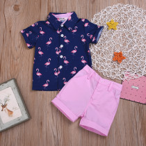 Flamingo Polo-collar Short Set