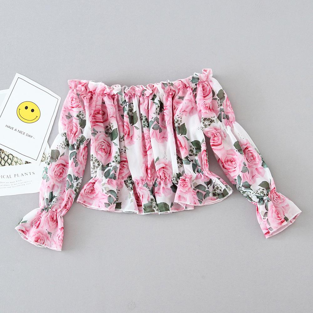 Rose Print Puff sleeve Top