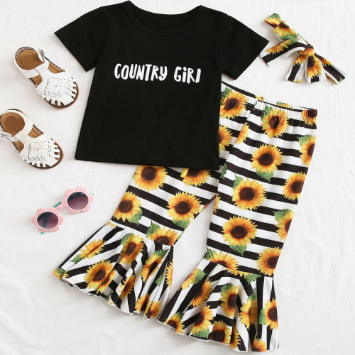 2pcs Letter Top and Stripe Daisy Set