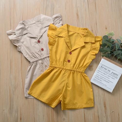 Short-sleeve Polo-collar Jumpsuit