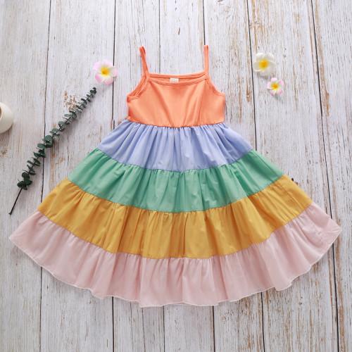 Rainbow Ruffle Sling Dress
