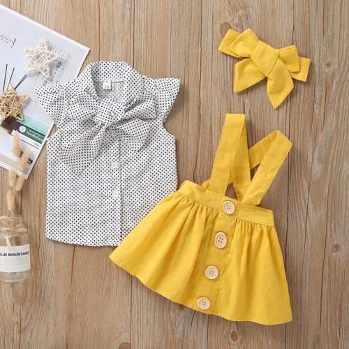 3pcs Polka Dot Bow Skirt Set