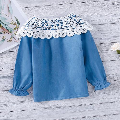 Lace Denim Long-sleeve Top
