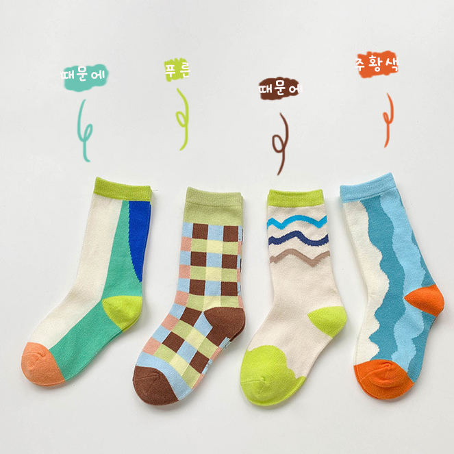 4pcs Color Matching Socks