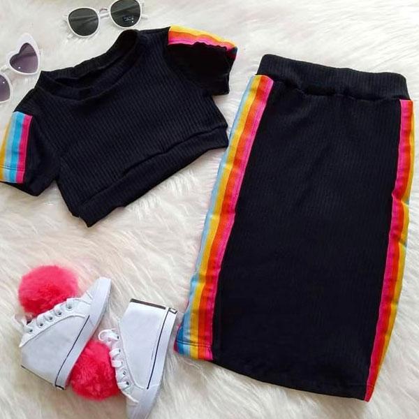 2pcs Rainbow Stripe Set