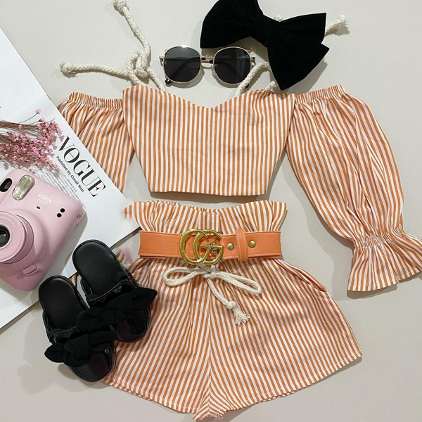 2pcs Stripe Long-sleeve Set