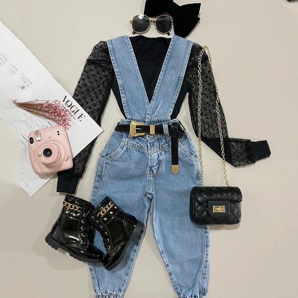 2pcs Mesh Polka dot Denim Set