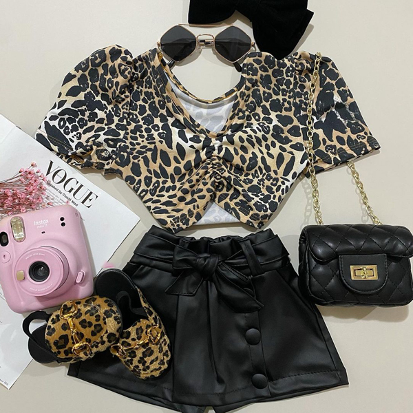 2pcs Leopard Short-sleeve Set