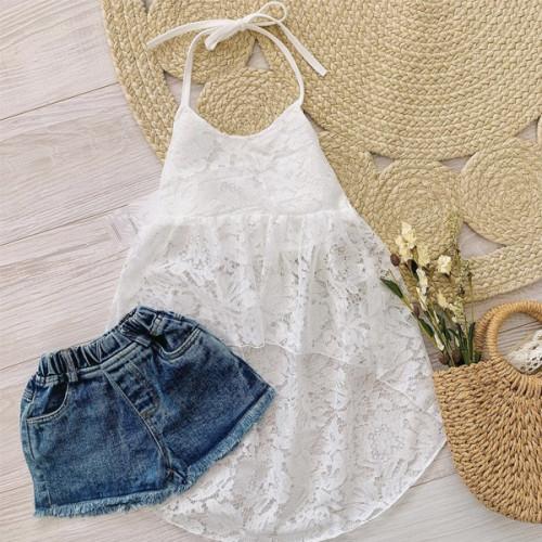 Lace Dress Top and Denim Set