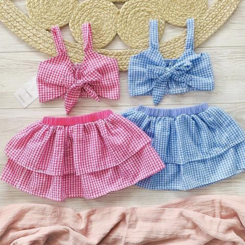 2pcs Plaid Skirt Set