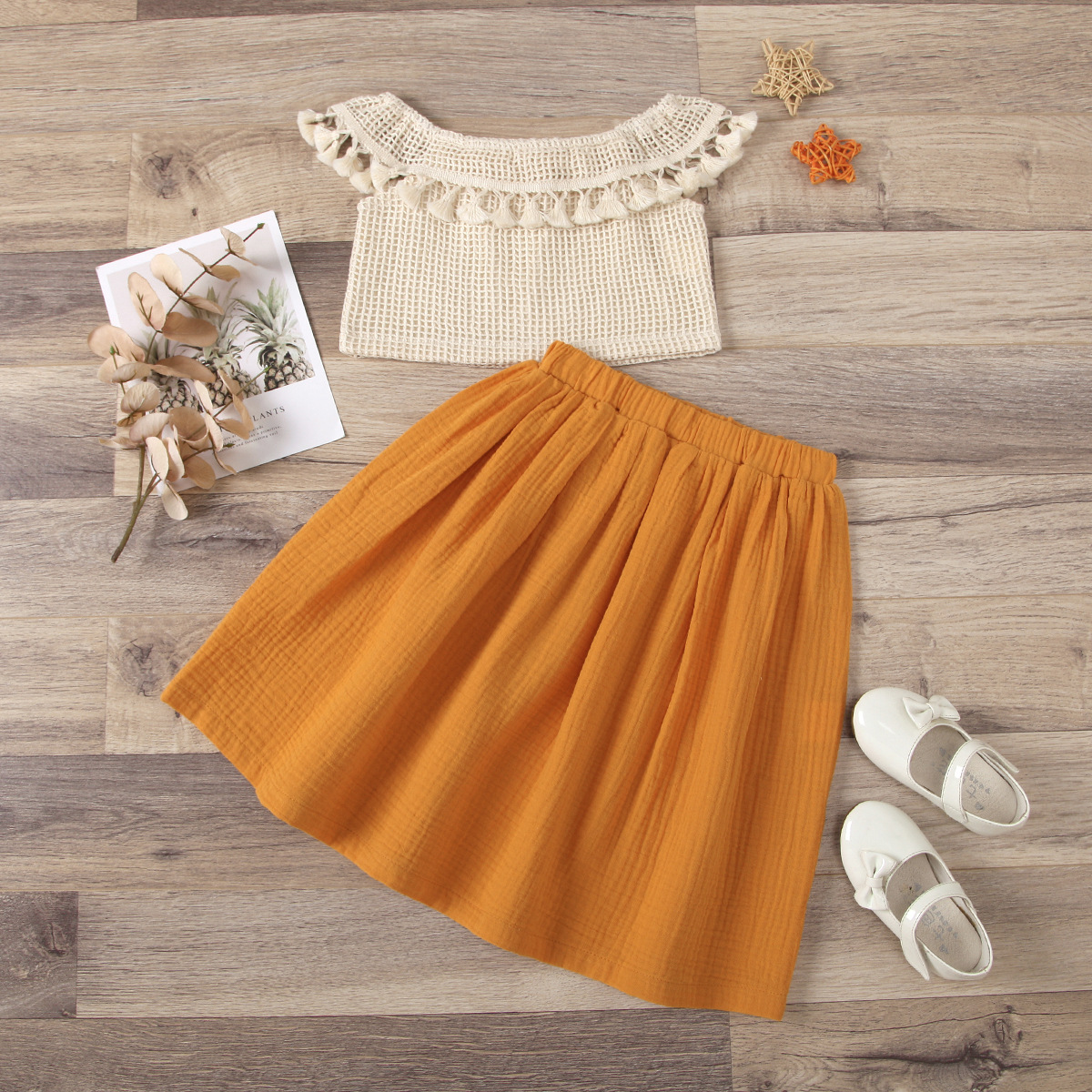 One Shoulder Fringed Top Pleated Skirt Set