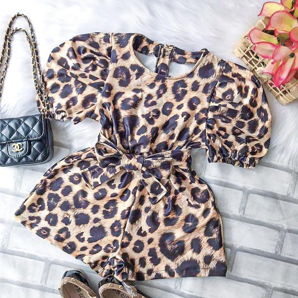 Leopard Print Puff Jumpsuit