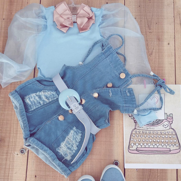 2pcs Mesh Top and Denim Set