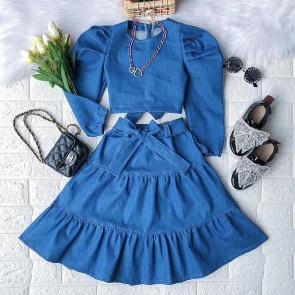 2pcs Denim Puff Skirt Set