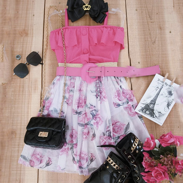 2pcs Rose Print Dress Set