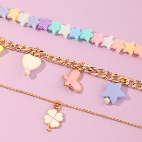 Acrylic flower multi layer Necklace