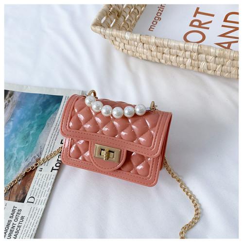 Checkered pearl chain shoulder bag