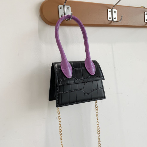 Multi color square handbag single shoulder bag